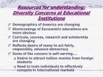 resources for understanding diversity concerns at educational institutions