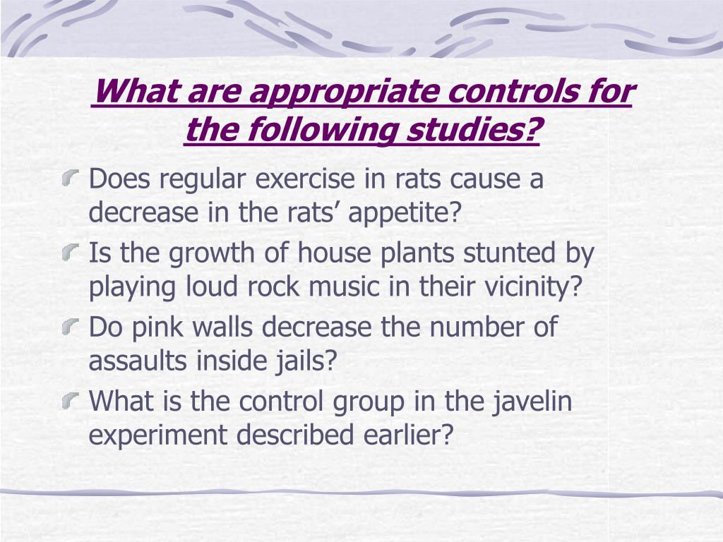 What are appropriate controls for the following studies?