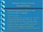 genetic analysis using transformation27