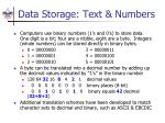 data storage text numbers
