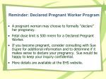 reminder declared pregnant worker program