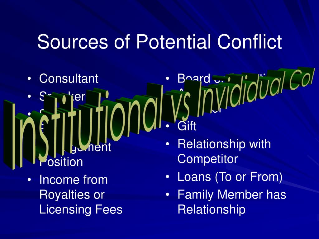 Sources of Potential Conflict