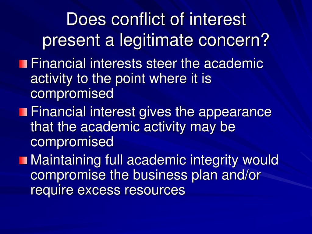 Does conflict of interest
