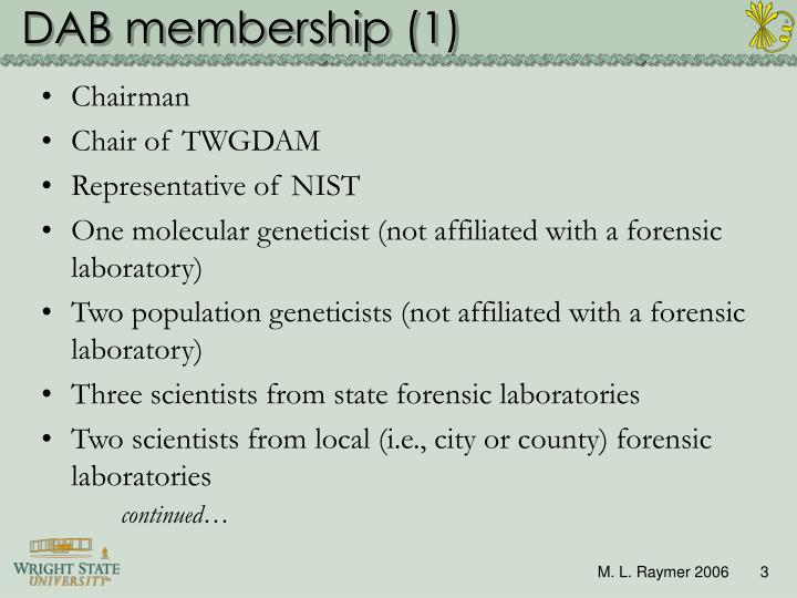 Dab membership 1