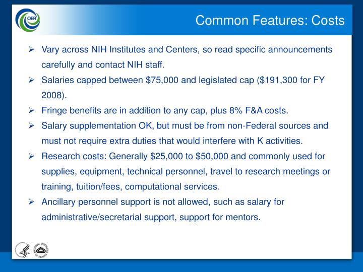 Common Features: Costs