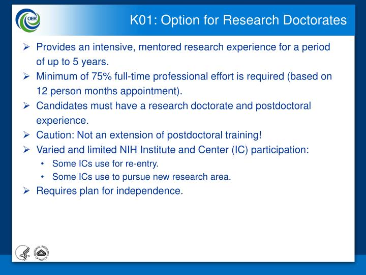 K01: Option for Research Doctorates