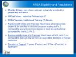 nrsa eligibility and regulations