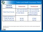 tuition and health insurance policy