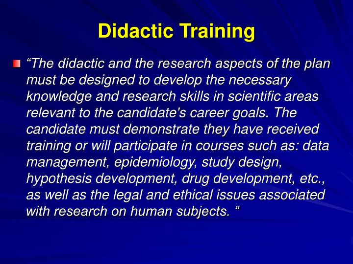 Didactic Training