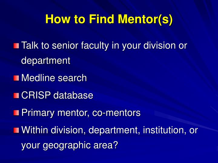 How to Find Mentor(s)