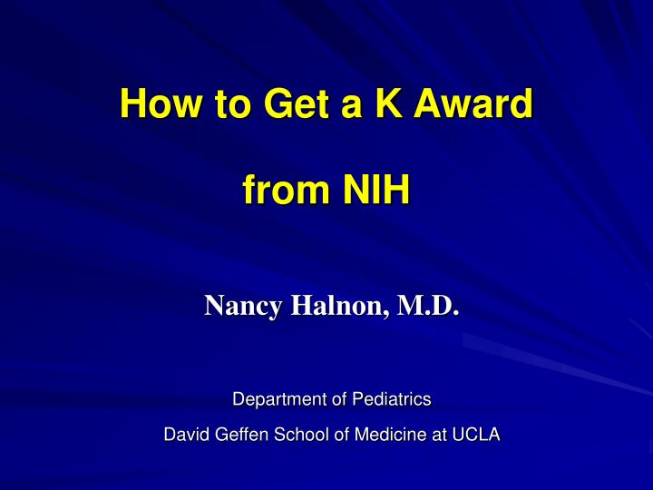 how to get a k award from nih n.