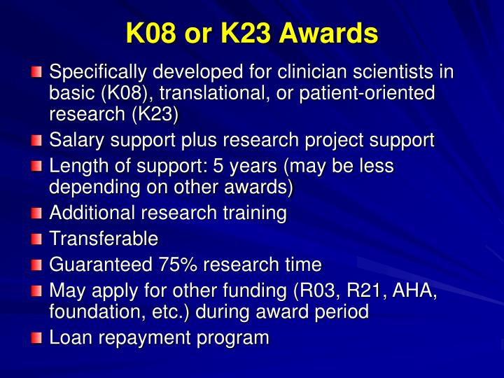 K08 or K23 Awards