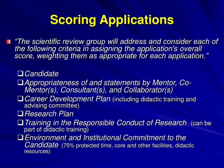 Scoring Applications