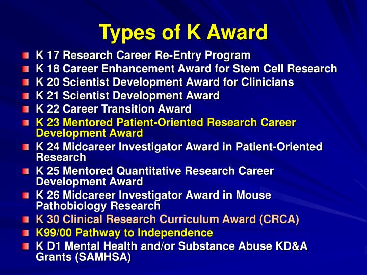 Types of K Award