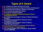 types of k award1