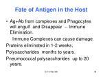 fate of antigen in the host