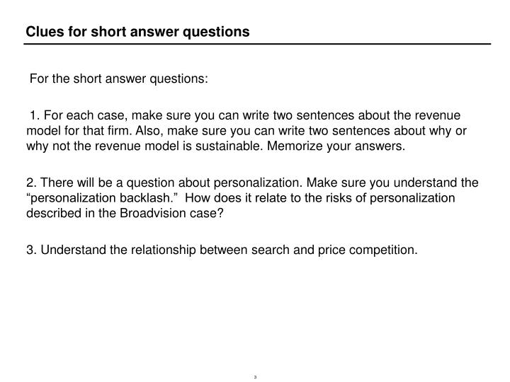 Clues for short answer questions