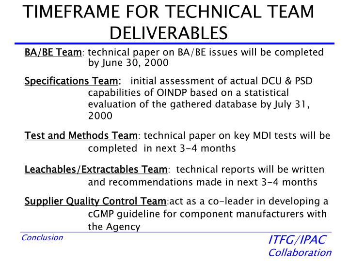 TIMEFRAME FOR TECHNICAL TEAM DELIVERABLES