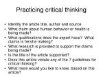 practicing critical thinking