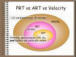prt vs art vs velocity