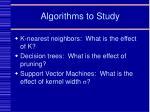 algorithms to study