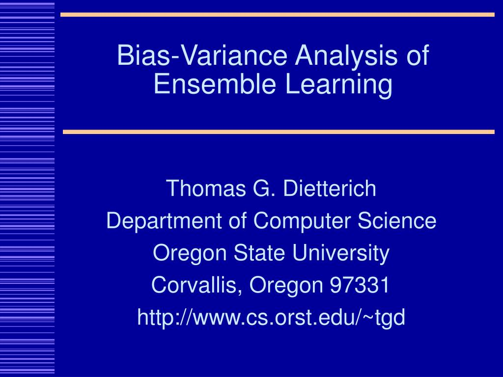 bias variance analysis of ensemble learning l.