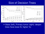 size of decision trees