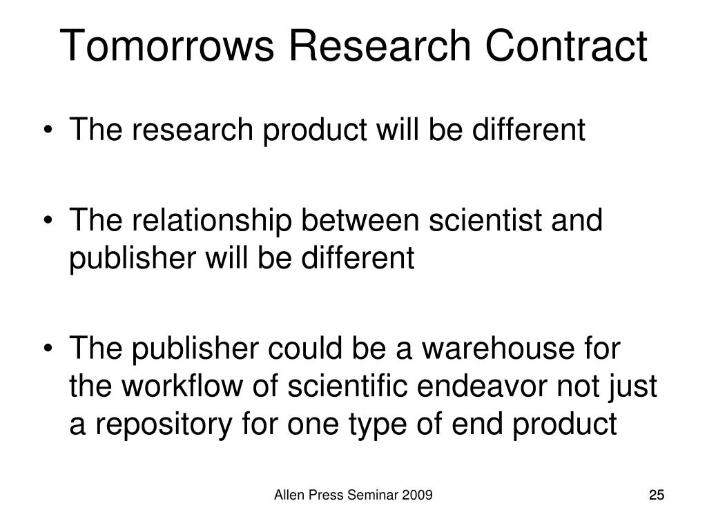 Tomorrows Research Contract