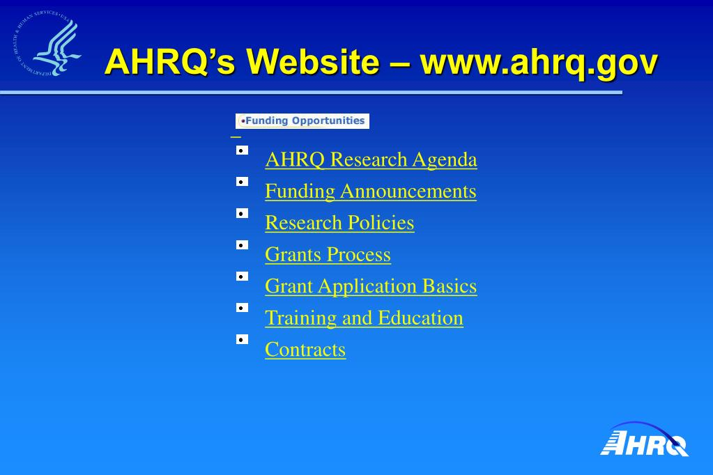 AHRQ's Website – www.ahrq.gov