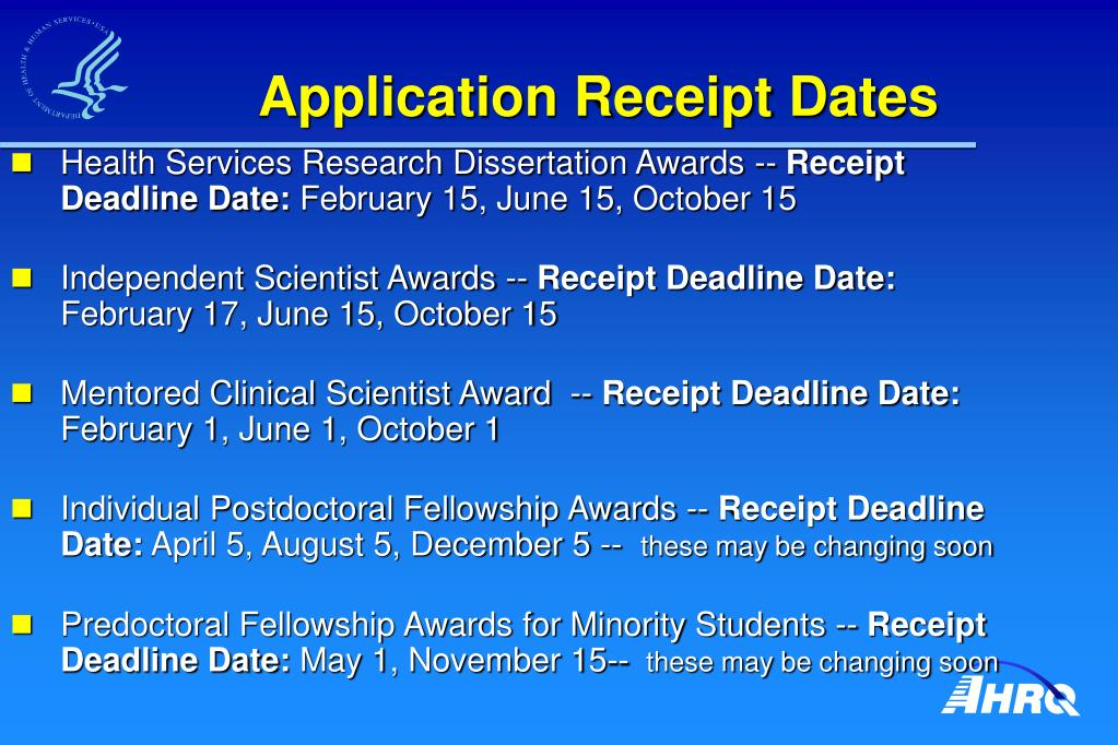 Application Receipt Dates