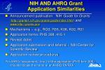 nih and ahrq grant application similarities