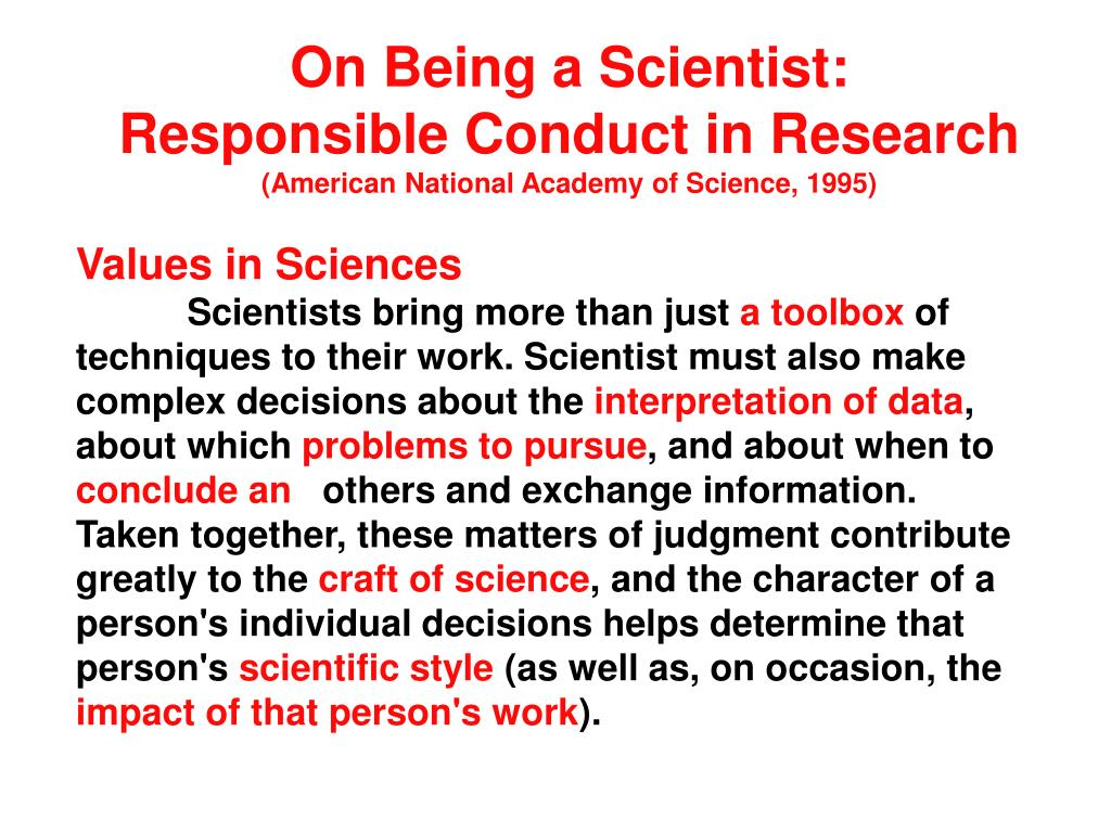on being a scientist responsible conduct in research american national academy of science 1995 l.