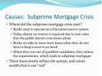 causes subprime mortgage crisis