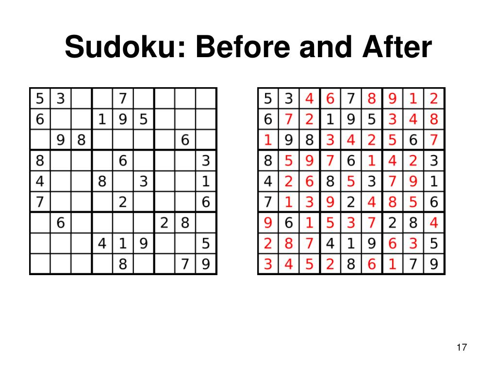 Sudoku: Before and After