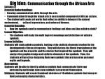 big idea communication through the african arts