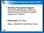 common features costs cont
