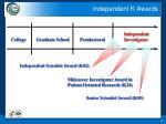independent k awards