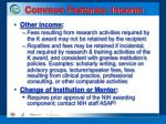 common features income