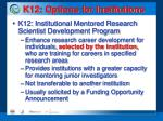 k12 options for institutions