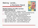 baking lends a humane hand