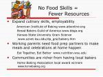 no food skills fewer resources