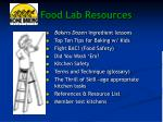 food lab resources