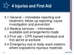 4 injuries and first aid
