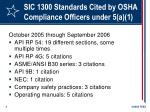 sic 1300 standards cited by osha compliance officers under 5 a 1