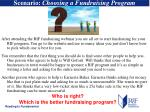 scenario choosing a fundraising program