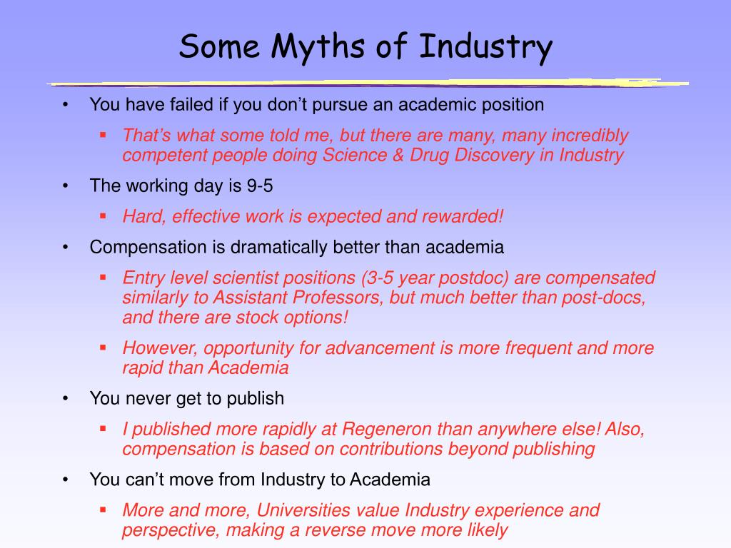 Some Myths of Industry