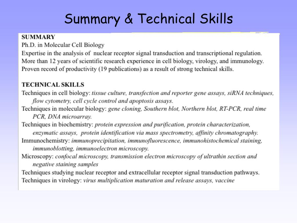 Summary & Technical Skills