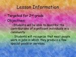 lesson information