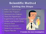 scientific method listing the steps