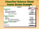 classified balance sheet assets section example
